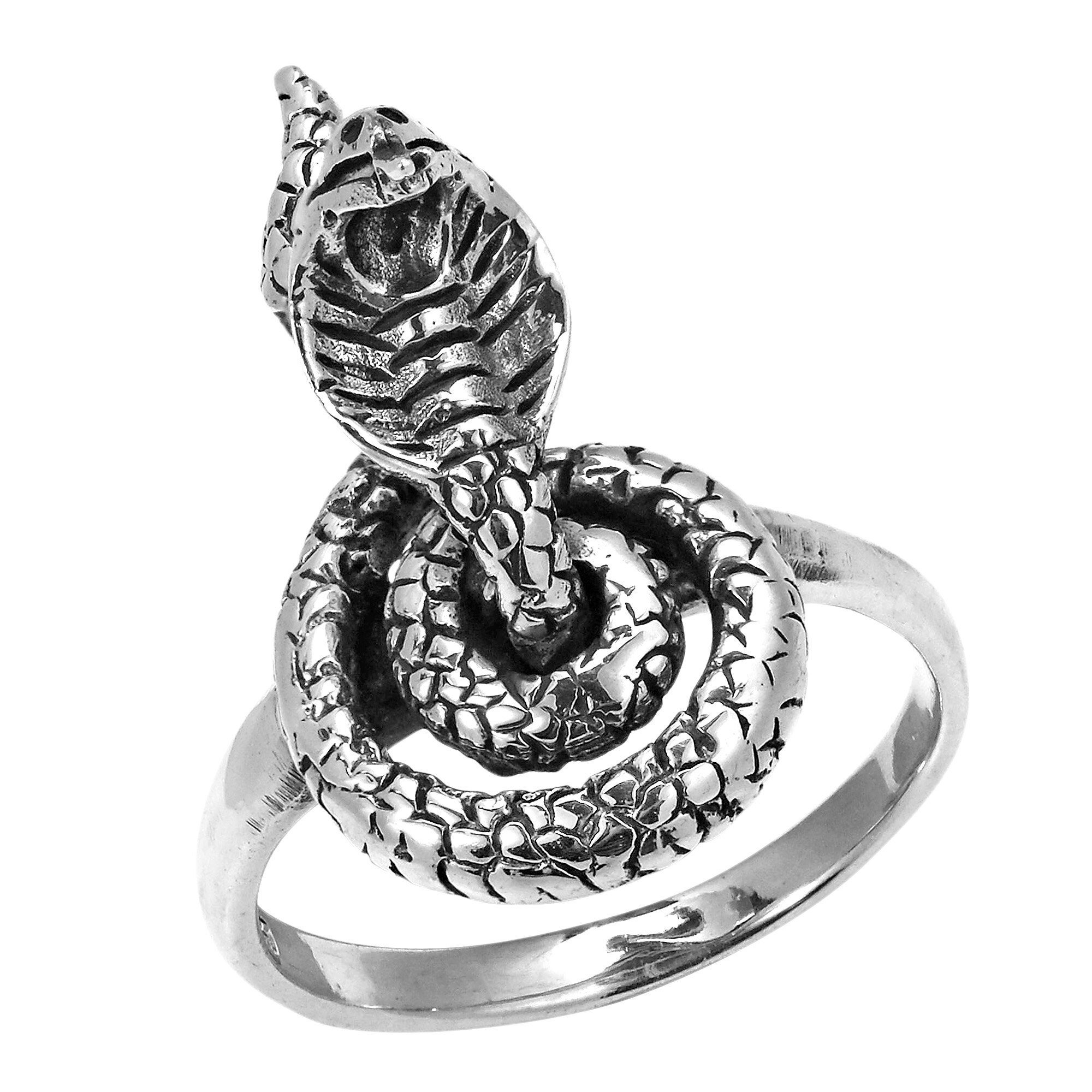 Fatal King Cobra Snake Movable Head Sterling Silver Ring (Thailand) 2