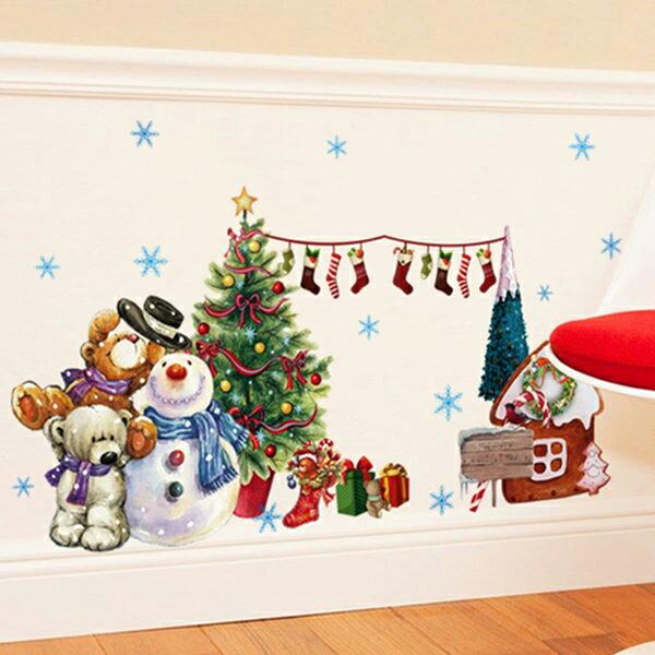 BO雜貨:BO雜貨【YV4189-1】聖誕節佈置無痕壁貼玻璃貼聖誕樹小雪人聖誕襪裝飾貼紙ABQ6006