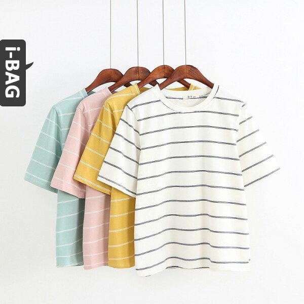 B.A.G*現+預*【TB1642】甜美條紋針織短袖上衣(現+預)-4色