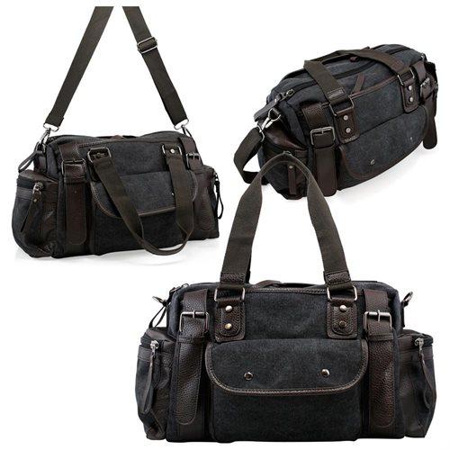 3ae927943a7 Vintage Canvas Duffle Tote Gym Travel Hiking Mens Satchel Shoulder Messenger  Crossbody Bag - Gray 0