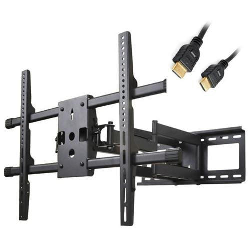 """VideoSecu Articulating Tilt Swivel Rotate Full Motion TV Wall Mount for most 40-70"""" LCD LED Plasma Flat Panel Screen with Loading up to 165lbs - Max VESA 684x400/ 600x400/ 400x400, Dual Arm Pull Out up to 25""""/ Free 10ft HDMI Cable A37 0"""