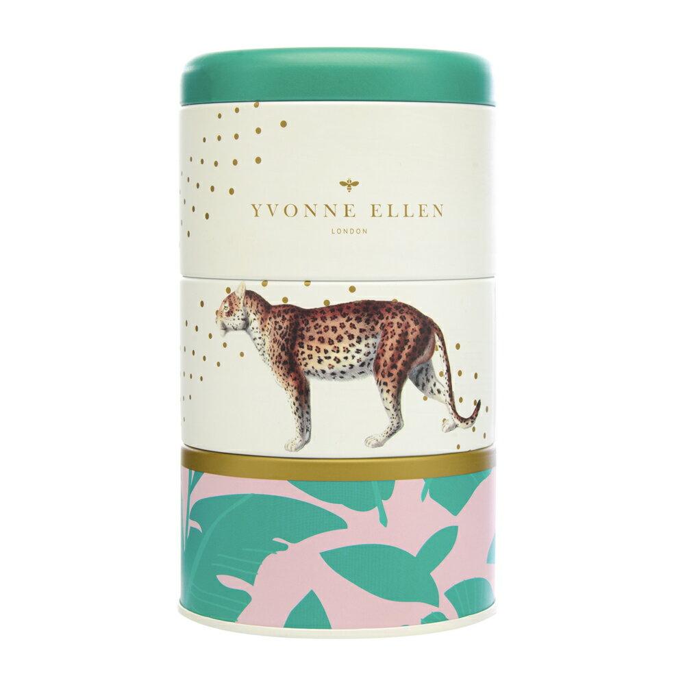 英國Wax Lyrical  動物饗宴YVONNE ELLEN三層蠟燭禮盒-經典棕櫚 (獵豹)