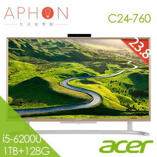 【Aphon生活美學館】ACER Aspire C24-760 All-In-One桌上型電腦( i5-6200U/23.8吋非觸控/8G/1TB+128G SSD/Win10 )-送涼感凝膠坐墊42..