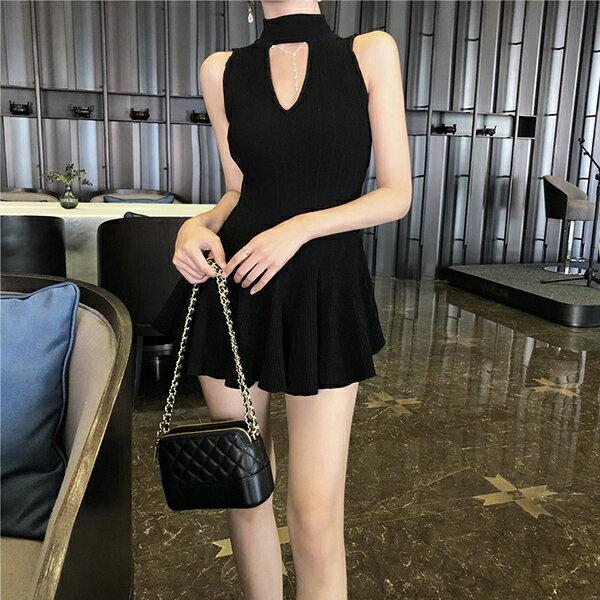 PS Mall V領小性感針織無袖心機鏤空連身裙 【T560】 1