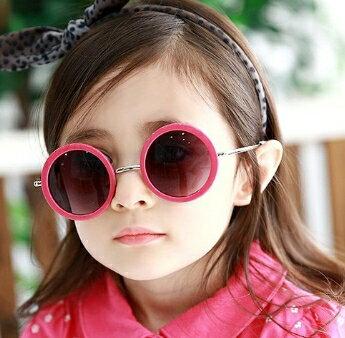 Kocotree◆可愛復古圓框兒童防紫外線護目太陽眼鏡-玫紅鏡框