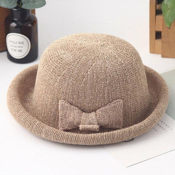 草帽蝴蝶結透氣鏤空捲邊圓頂遮陽草帽【JLM0047】BOBI0412