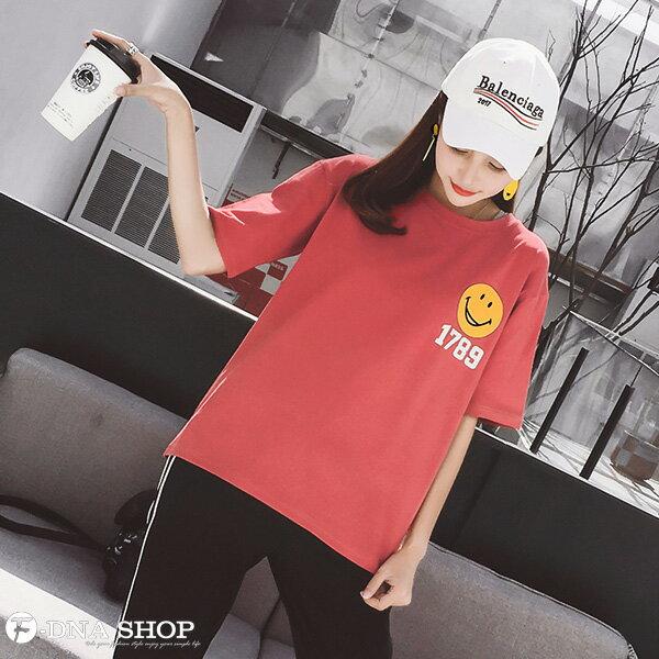 F-DNA★笑臉1789前後印圖圓領短袖上衣T恤(2色-M-2XL)【ET12717】 3