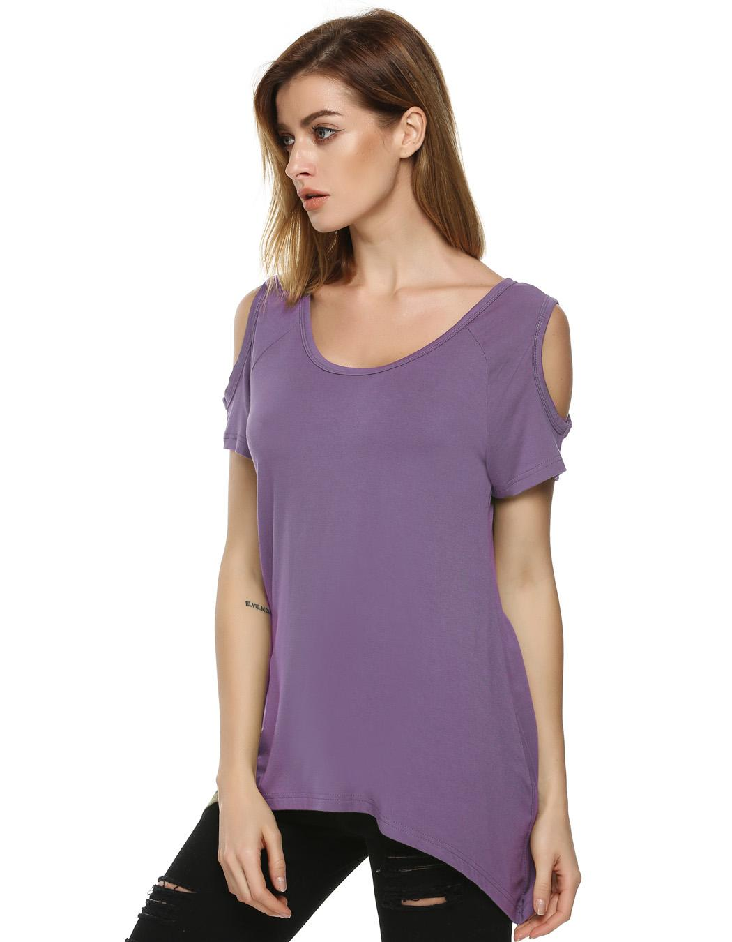 Women O-Neck Short Sleeve Off Shoulder Loose Solid Irregular T-Shirt 3