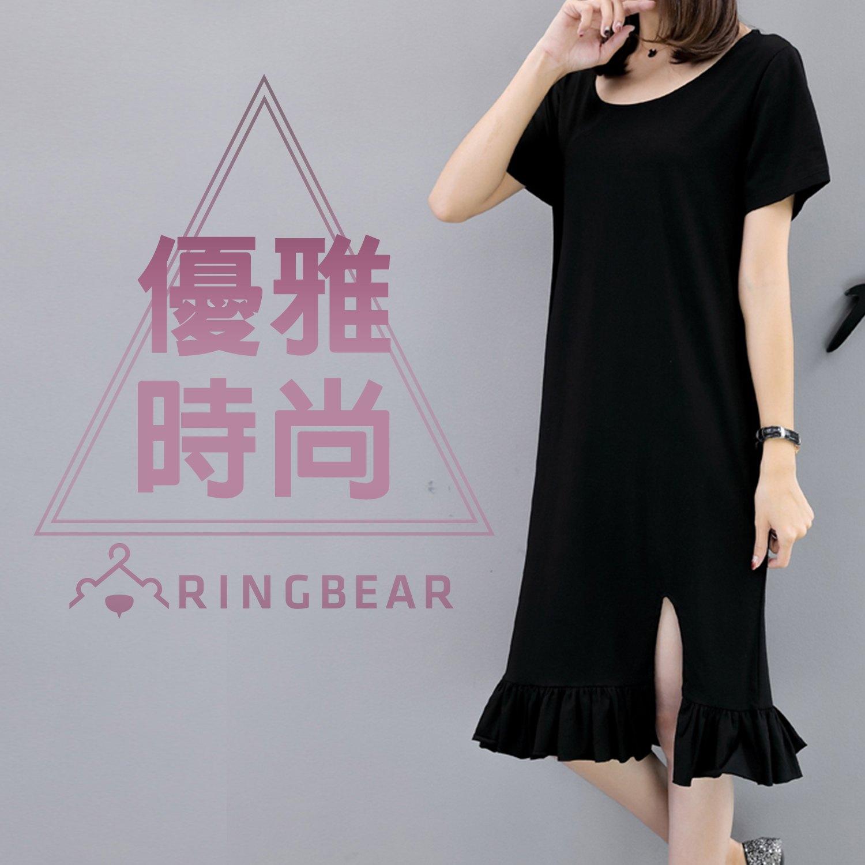 黑色洋裝--性感後背蝴蝶蕾絲前開衩荷葉下襬圓領短袖連身裙(黑L-3L)-U505眼圈熊中大尺碼 0