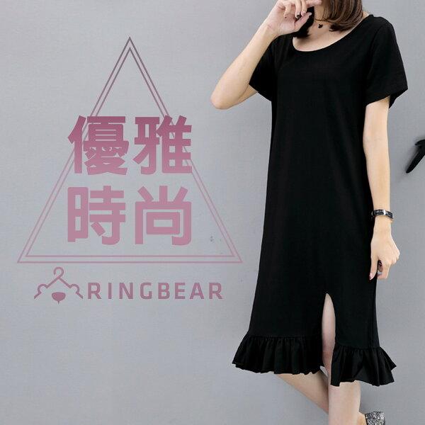黑色洋裝--性感後背蝴蝶蕾絲前開衩荷葉下襬圓領短袖連身裙(黑L-3L)-U505眼圈熊中大尺碼