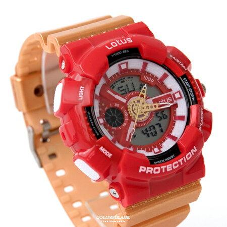 手錶 搶眼紅金配色雙顯電子膠錶 日本機芯設計 防水30米 柒彩年代【NE1873】個性款式 - 限時優惠好康折扣