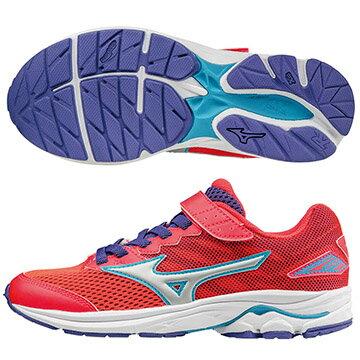 K1GC173104(紅X白X藍)WAVE RIDER 20 Jr.V 黏貼帶式童鞋 S【美津濃MIZUNO】