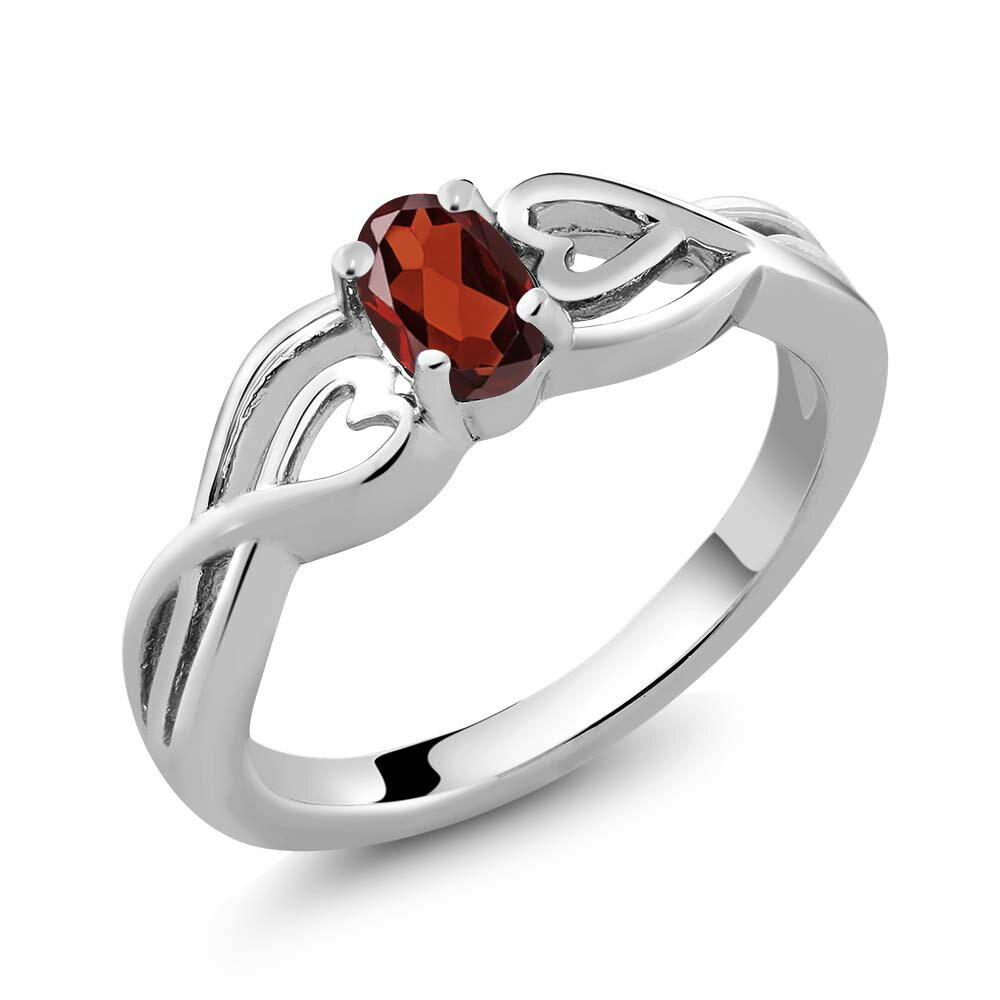 0.50 Ct Oval Red Garnet 925 Sterling Silver Ring 0