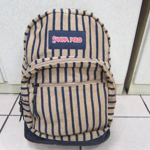 ~雪黛屋~POLO sandia 專櫃中性後背包 防水棉質材質上學上班工作萬用包600-SA-1221駝色藍條