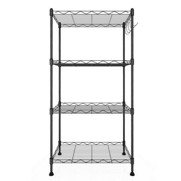 Kitchen Wire Shelving 4-Shelf Storage Organizer Rack Adjustable Height with Side Hooks 0
