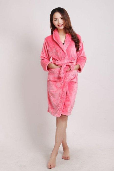 加厚珊瑚絨保暖睡袍 長袍 浴袍 睡衣 情侶款 法蘭絨睡袍 珊瑚絨療癒系浴袍 綁帶睡袍