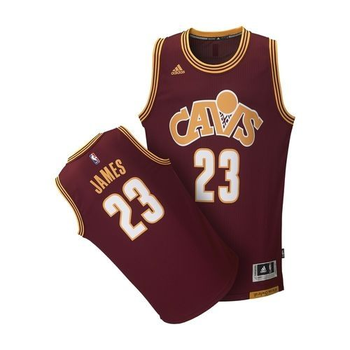 ADIDAS NBA 男裝 球衣 克里夫蘭騎士 LeBron James 酒紅 黃 白 【運動世界】 AL6774