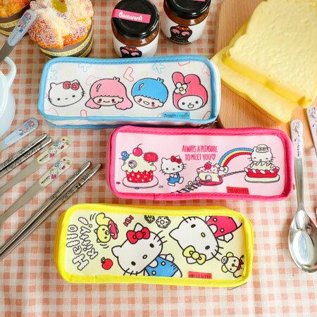 正版HelloKitty三件式不鏽鋼餐具組湯匙叉子筷子304不鏽鋼餐具環保三麗鷗凱蒂貓【B063093】
