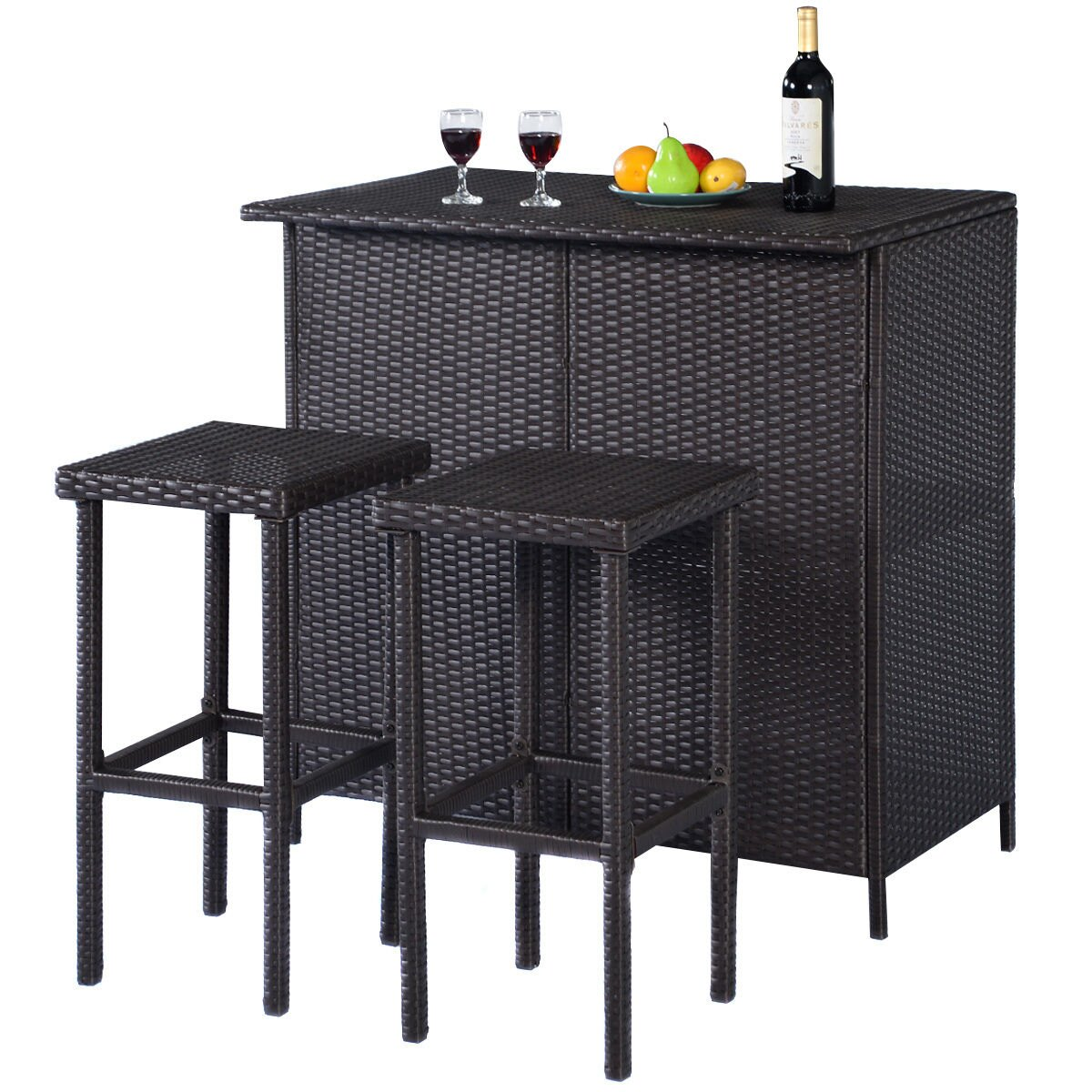 3-Piece Costway Rattan Wicker Outdoor Bar Set