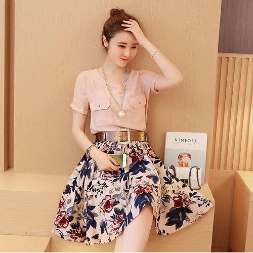 YJY韓國氣質棉麻兩件式花裙套裝^~Y319^~~2色