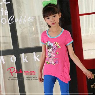 PINKNANA童裝 女童夏季娜娜大圖短袖T恤23166