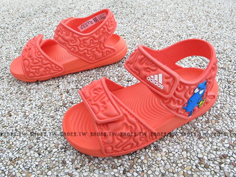 Shoestw【BA9327】ADIDAS Disney Nemo 童鞋 涼鞋 迪士尼 多莉 Dory 橘 雙黏帶 小童