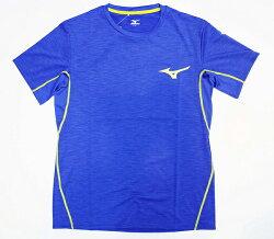【陽光樂活】MIZUNO 美津濃 男短袖路跑上衣 排汗 台灣製造 質感藍 J2TA600924