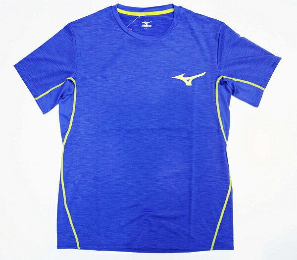 【陽光樂活】MIZUNO美津濃男短袖路跑上衣排汗台灣製造質感藍J2TA600924