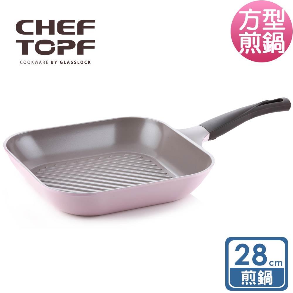 韓國 Chef Topf 薔薇系列28公分不沾方型煎鍋/韓國製造/不沾鍋/洗碗機用/最美鍋/方鍋 0