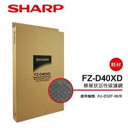 【SHARP 夏普】FU-D50T專用蜂巢狀活性碳濾網 FZ-D40XD