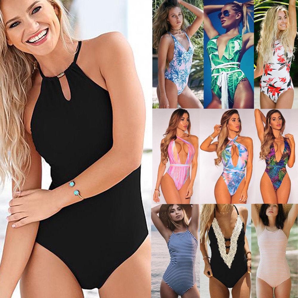 f85b81e09bc Women Bikini One-Piece Bathing Swimwear Swimsuit Monokini Black Blue  Clothing YU