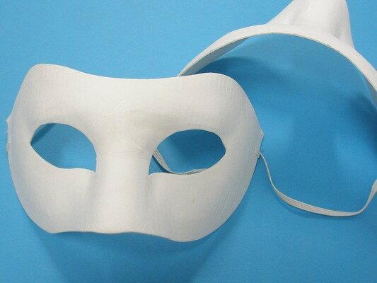 半罩面具 彩繪面具 空白面具 紙漿面具 DIY面具 臉譜 歌劇魅影/加厚(附鬆緊帶)/一個入{定40}~3965~