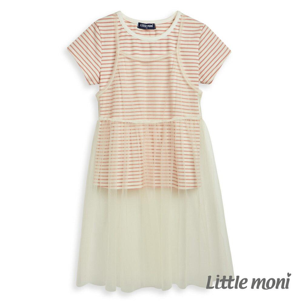 Little moni 網紗假兩件式上衣-粉紅 1