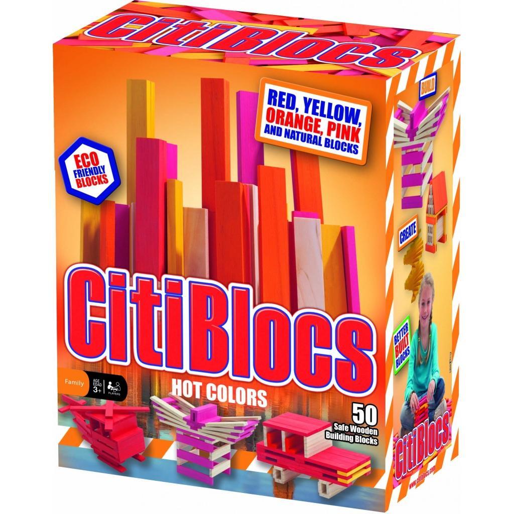 《任意門親子寶庫》創意新款積木 得獎木製玩具 - 暖色系【TY207-R】Citiblocs 50塊創意積木