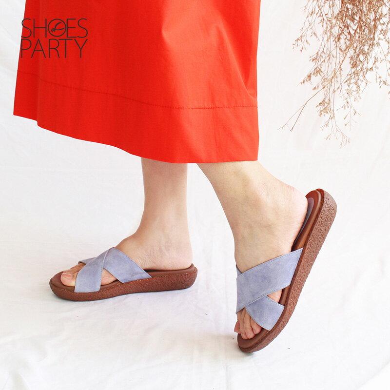【S2-18708L】Simple+雙帶交叉漢堡底拖鞋_Shoes Party 3