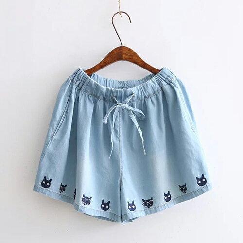 *ORead*日系多貓刺繡鬆緊腰繫帶牛仔短褲(2色F碼) 1