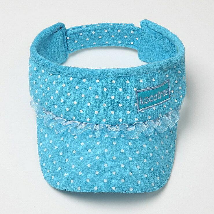 Kocotree◆時尚可愛蕾絲字母點點兒童遮陽帽空頂帽-藍色
