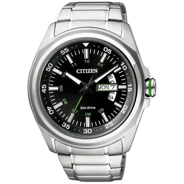 CITIZEN星辰AW0020-59E典藏耀綠光動能腕錶/黑面43mm