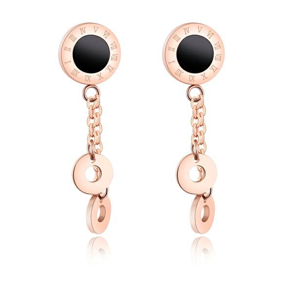 【5折超值價】時尚精美精緻羅馬數字雙圓圈造型鈦鋼女款耳飾