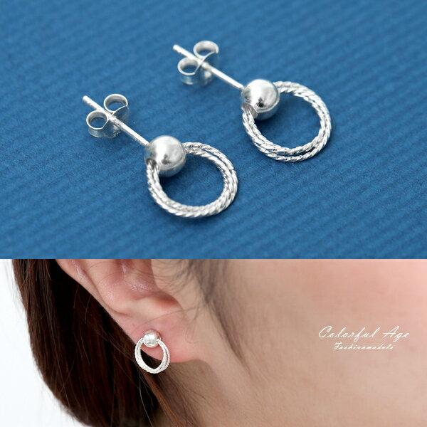 銀飾耳環麻花圈圈耳針純銀耳環典雅簡約【NPD181】