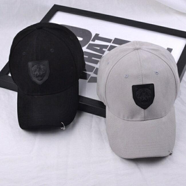 50%OFF【E020784H】歐美大牌風個性復古虎頭標麂皮絨鴨舌帽男女休閒簡約棒球帽子