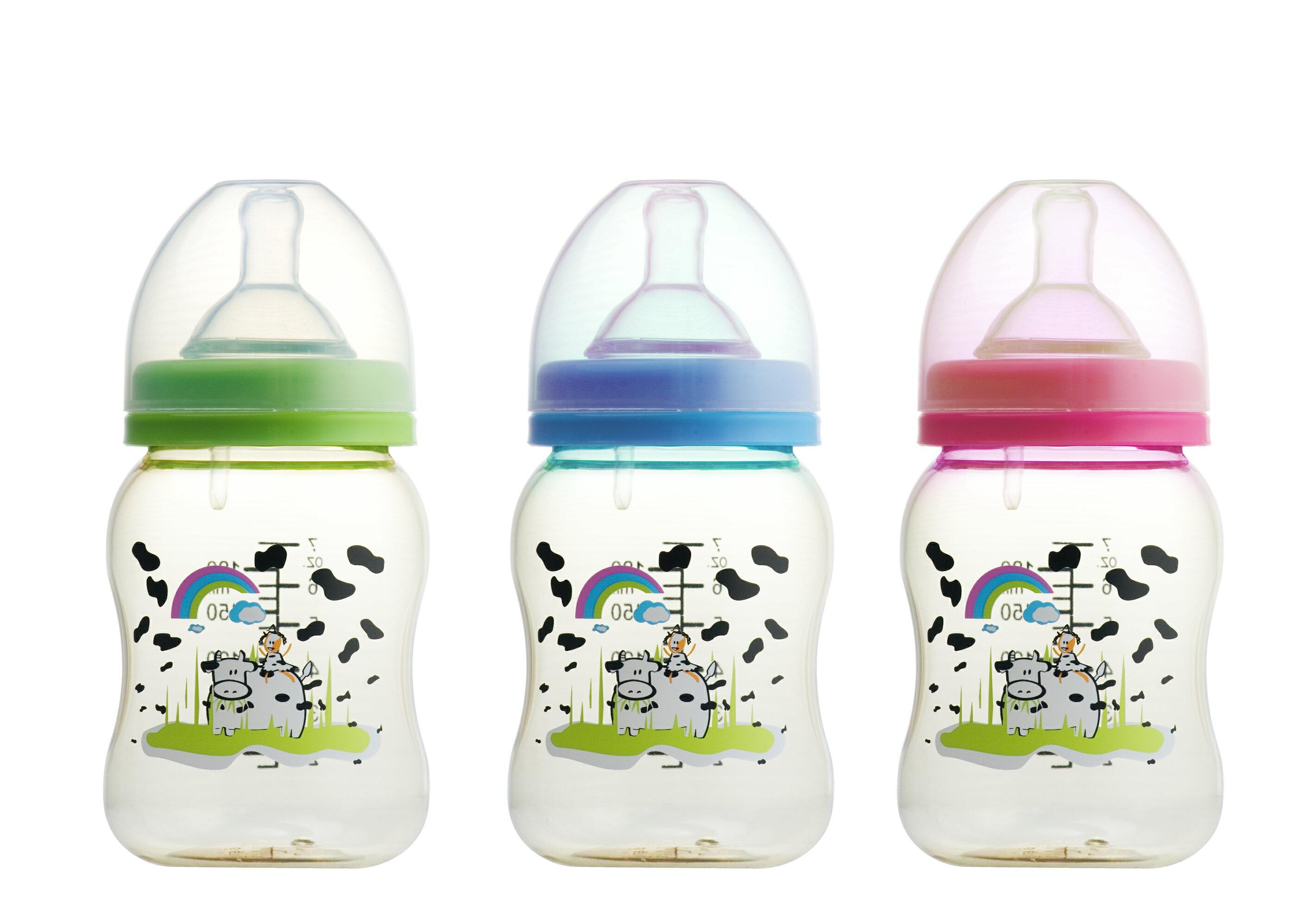 貝喜力克 寬口徑PES防脹氣奶瓶 180ml   S 三色