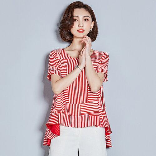 *ORead*條紋t恤雪紡衫(2色M~3XL) 0