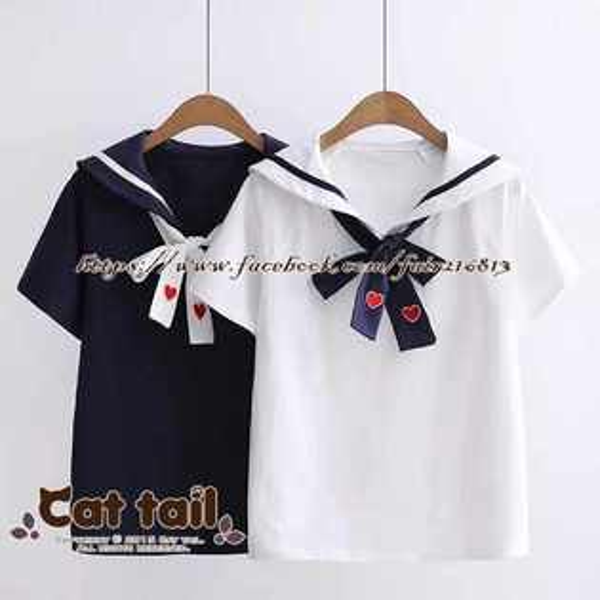《貓尾巴》TS-0896小清新愛心刺繡短袖T恤(森林系日系棉麻文青清新)