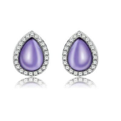 925純銀耳環鑲鑽耳飾~高貴 紫水晶生日情人節 女飾品2色73dz27~ ~~米蘭 ~