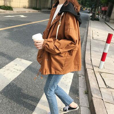 1件就免運-韓系女裝連帽夾克風衣短款工裝外套樂天時尚館。預購
