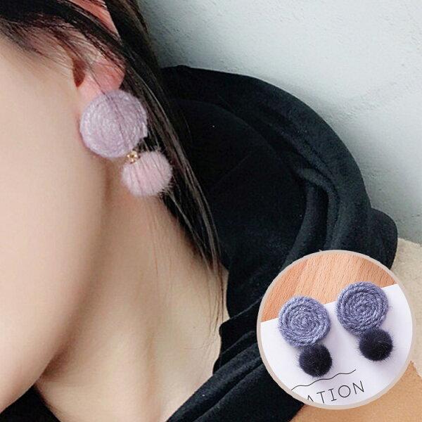77美妝:簡約氣質毛球耳環耳針(棉麻圈+毛球)MSZ9508-CL