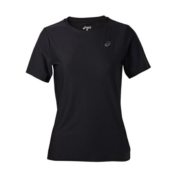 【ASICS亞瑟士】女短袖T恤LITE-SHOW反光運動短T142607-0904黑[陽光樂活]