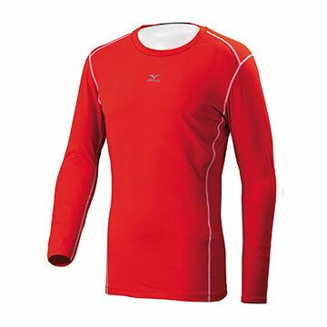 12TA7C0462(紅)吸汗快乾 抗紫外線 彈性材質 長袖棒球緊身衣 【美津濃MIZUNO】