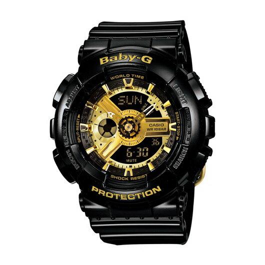 CASIOBABY-GBA-110-1A個性黑金少女雙顯流行腕錶黑面43.4mm